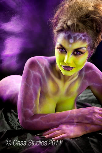 purple and green body paint