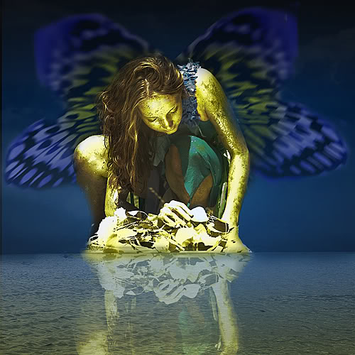 golden fairy on water with blue wings