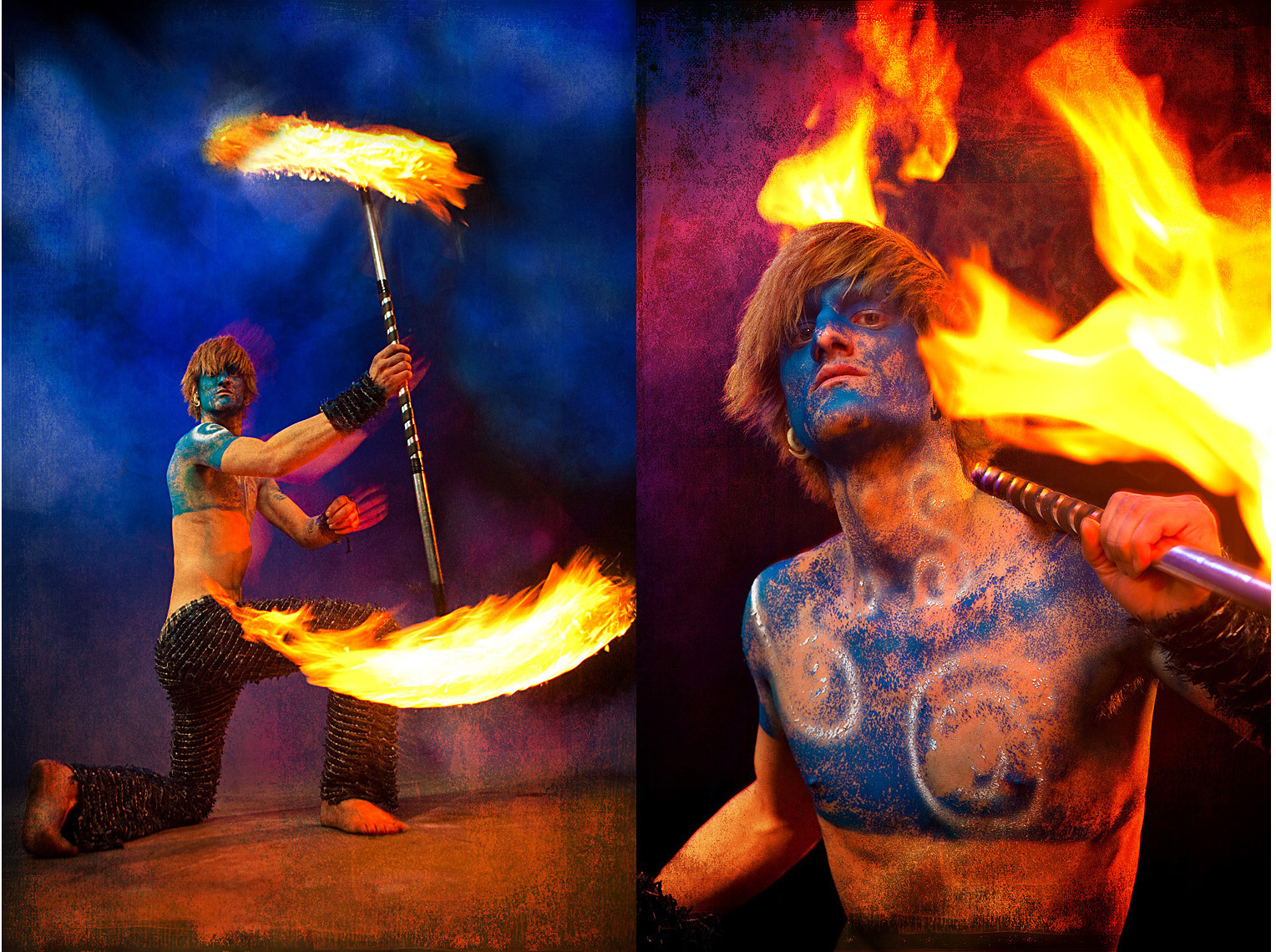 Burning Man portrait of Fire dancer