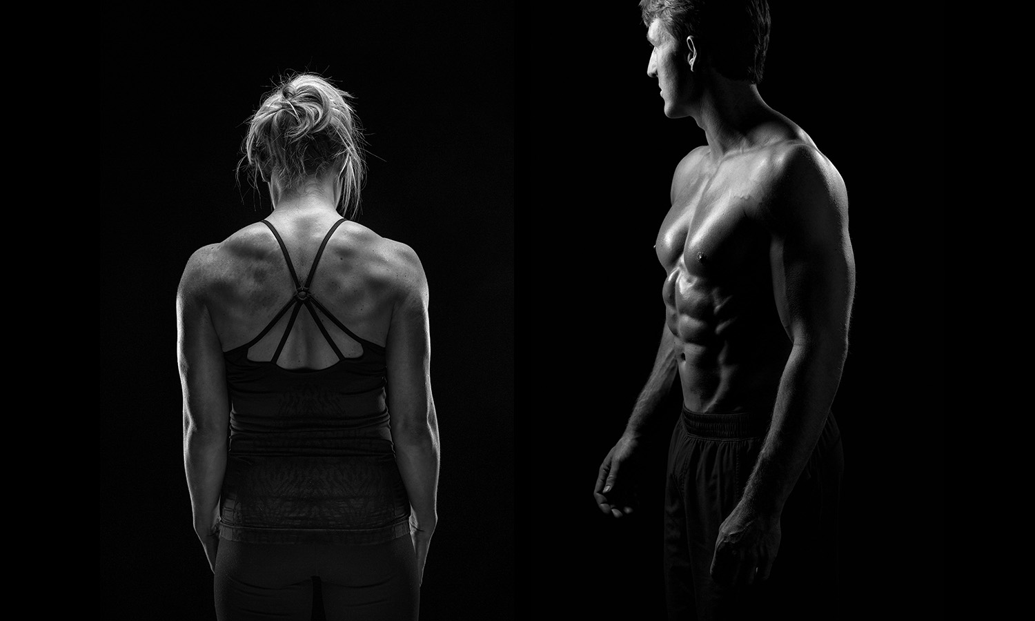 Black and White of muscle fitness